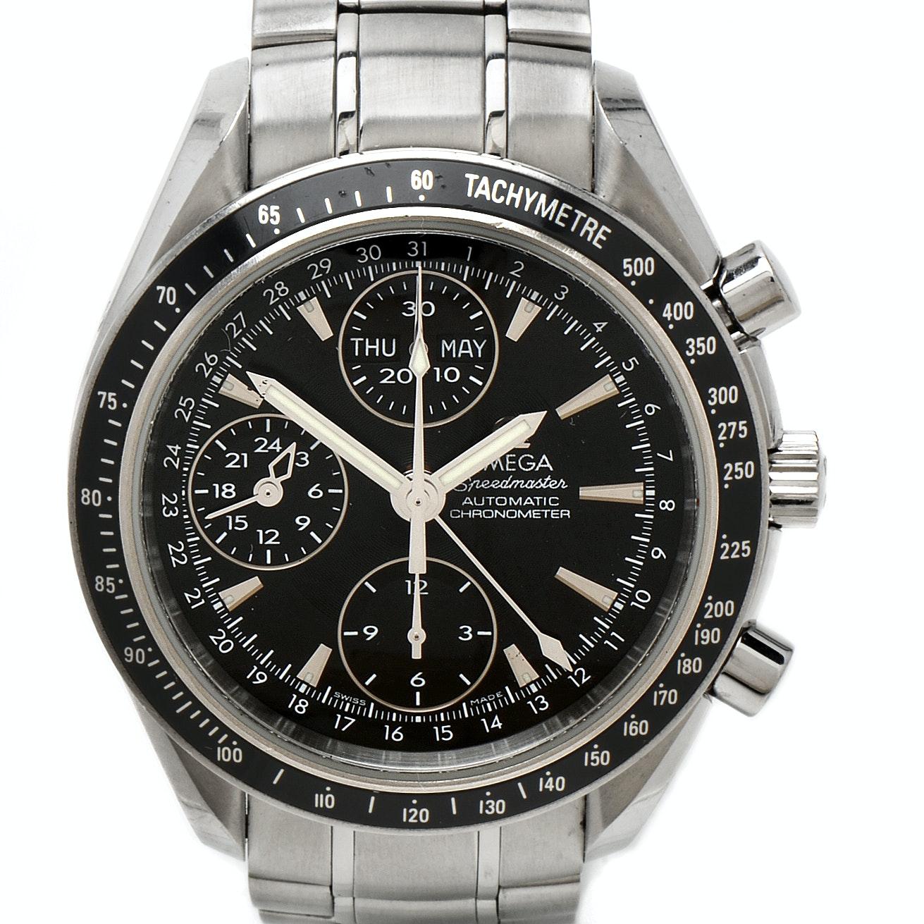 Omega Speedmaster Automatic Chronograph Triple Calendar Black Steel Wristwatch