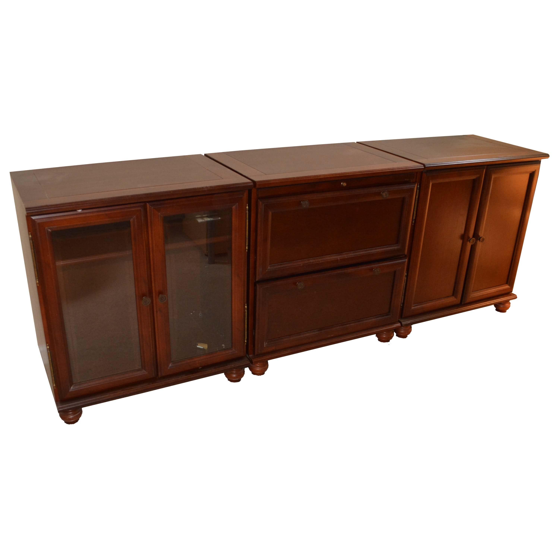 Three Walnut Finished Storage Cabinets