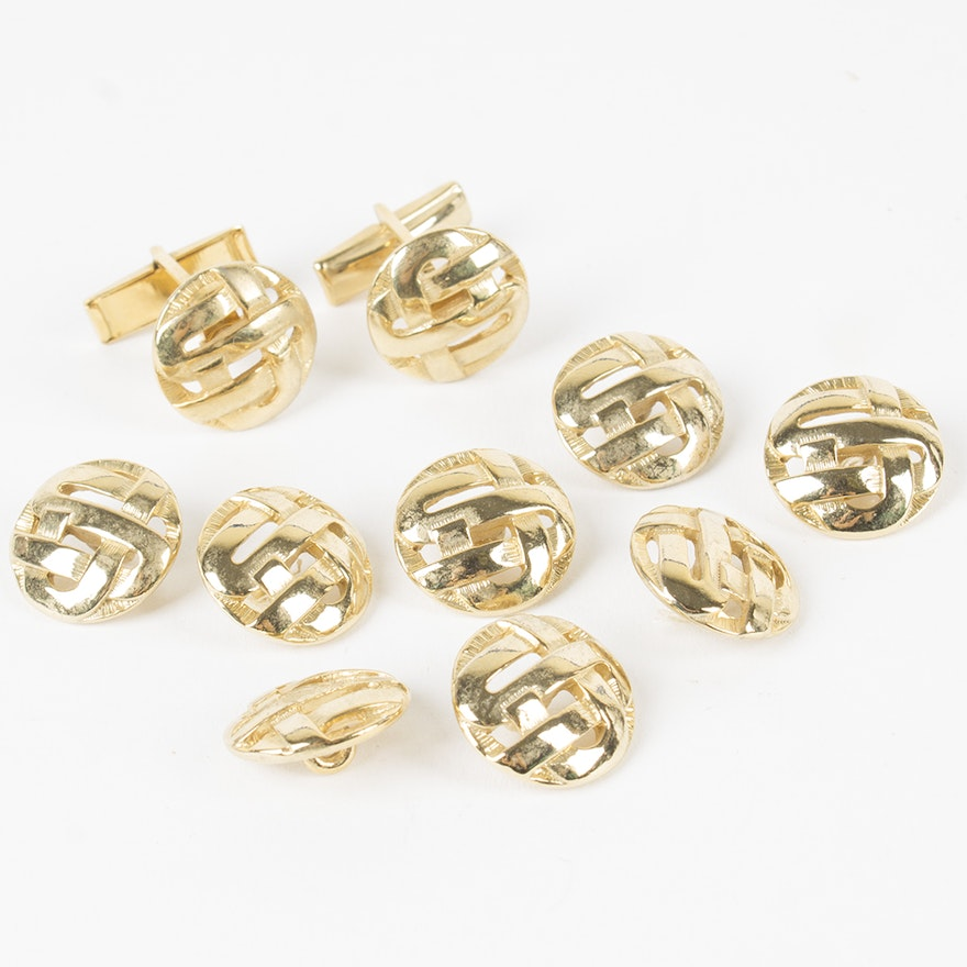Gold Tone Basket Weave Design Cufflinks and Buttons : EBTH
