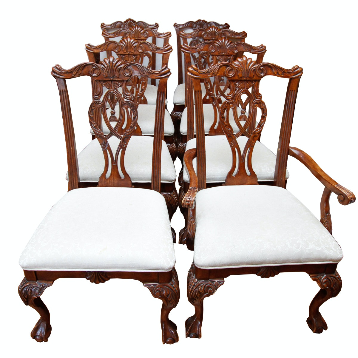 Eight Chippendale Style Mahogany Dining Chairs