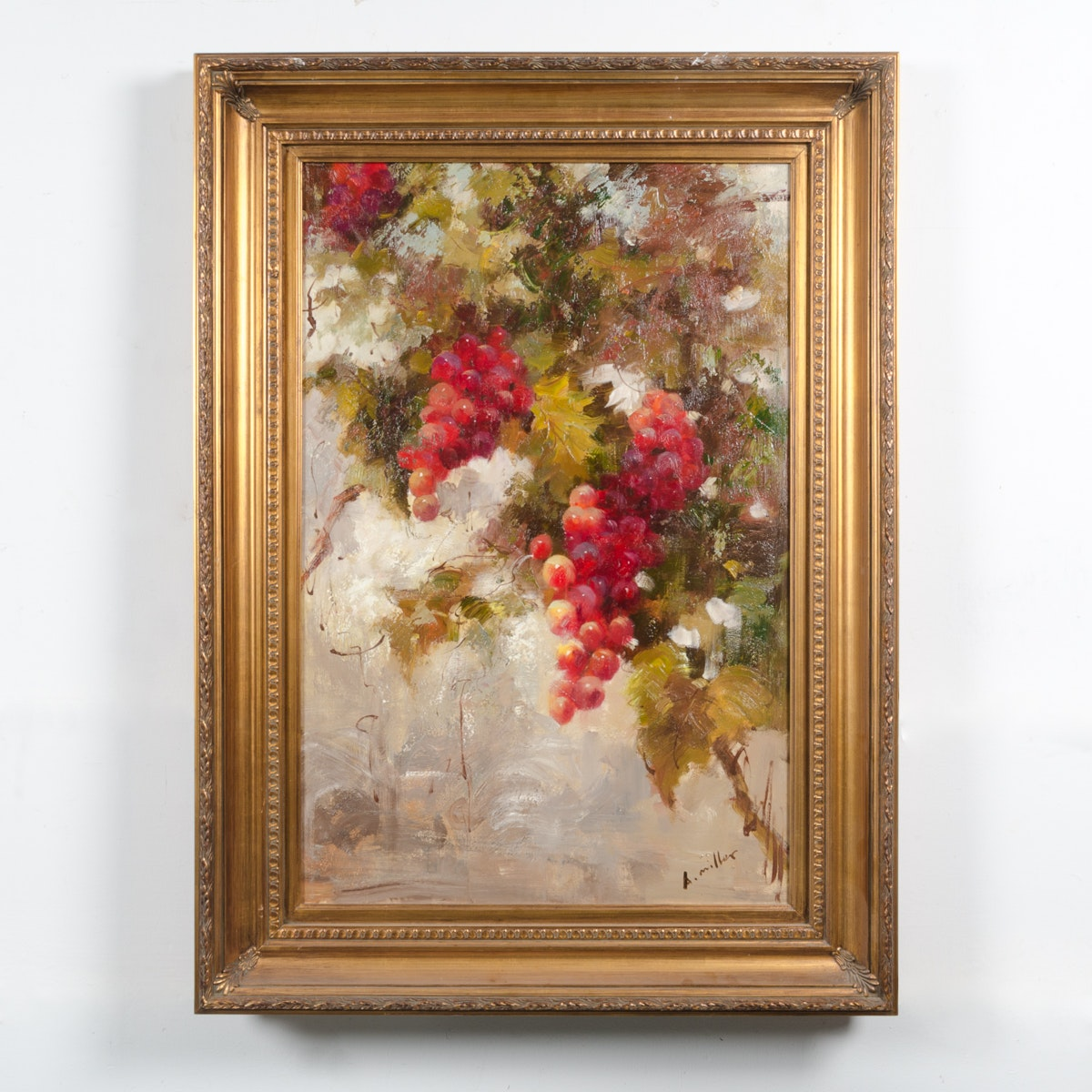 "A. Miller Oil Painting ""Grapes on a Branch"""