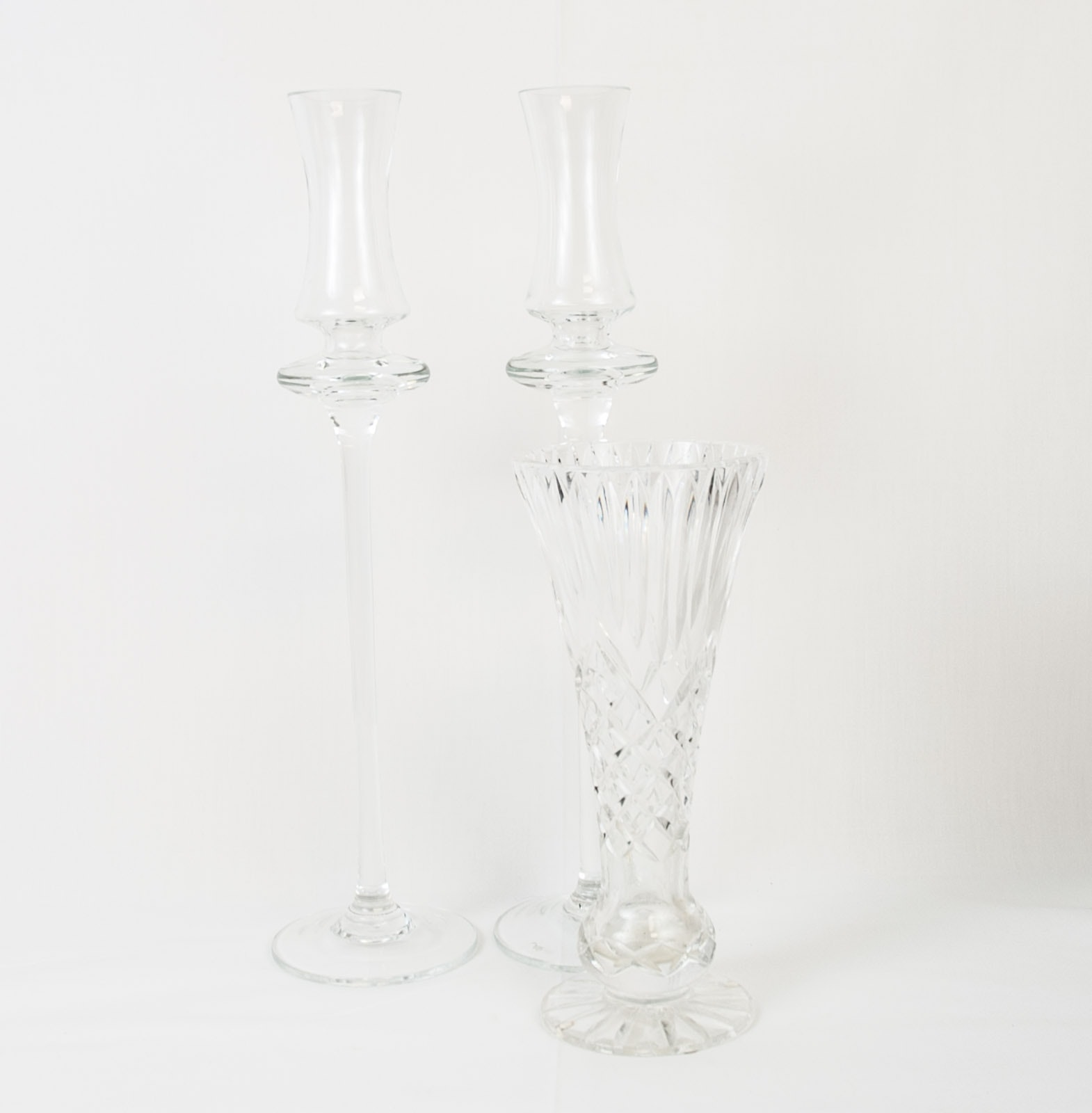Glass Candlesticks and Crystal Vase