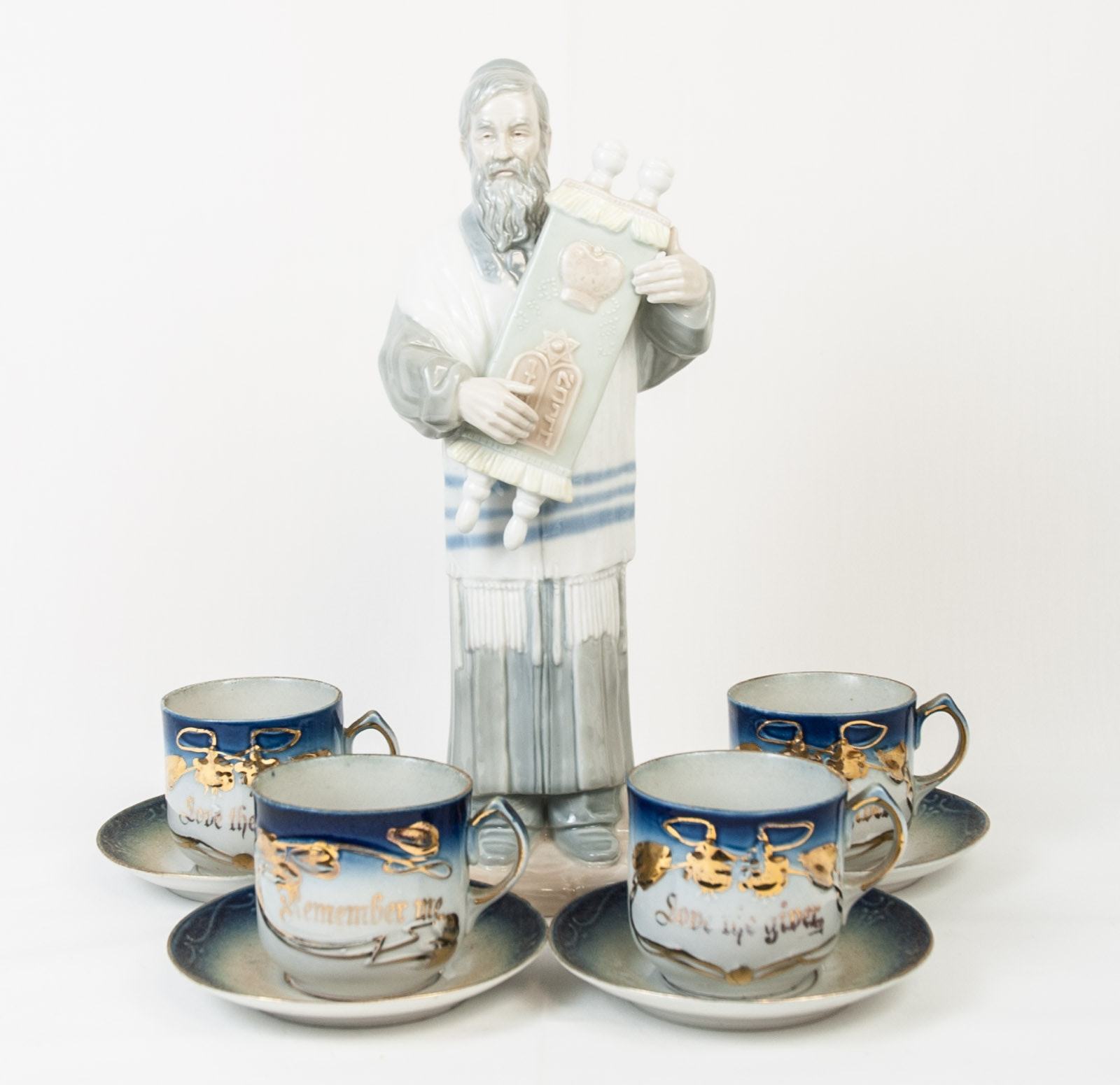 Vintage German Porcelain Memento Tea Cups and Saucers with an IGD Rabbi Figurine