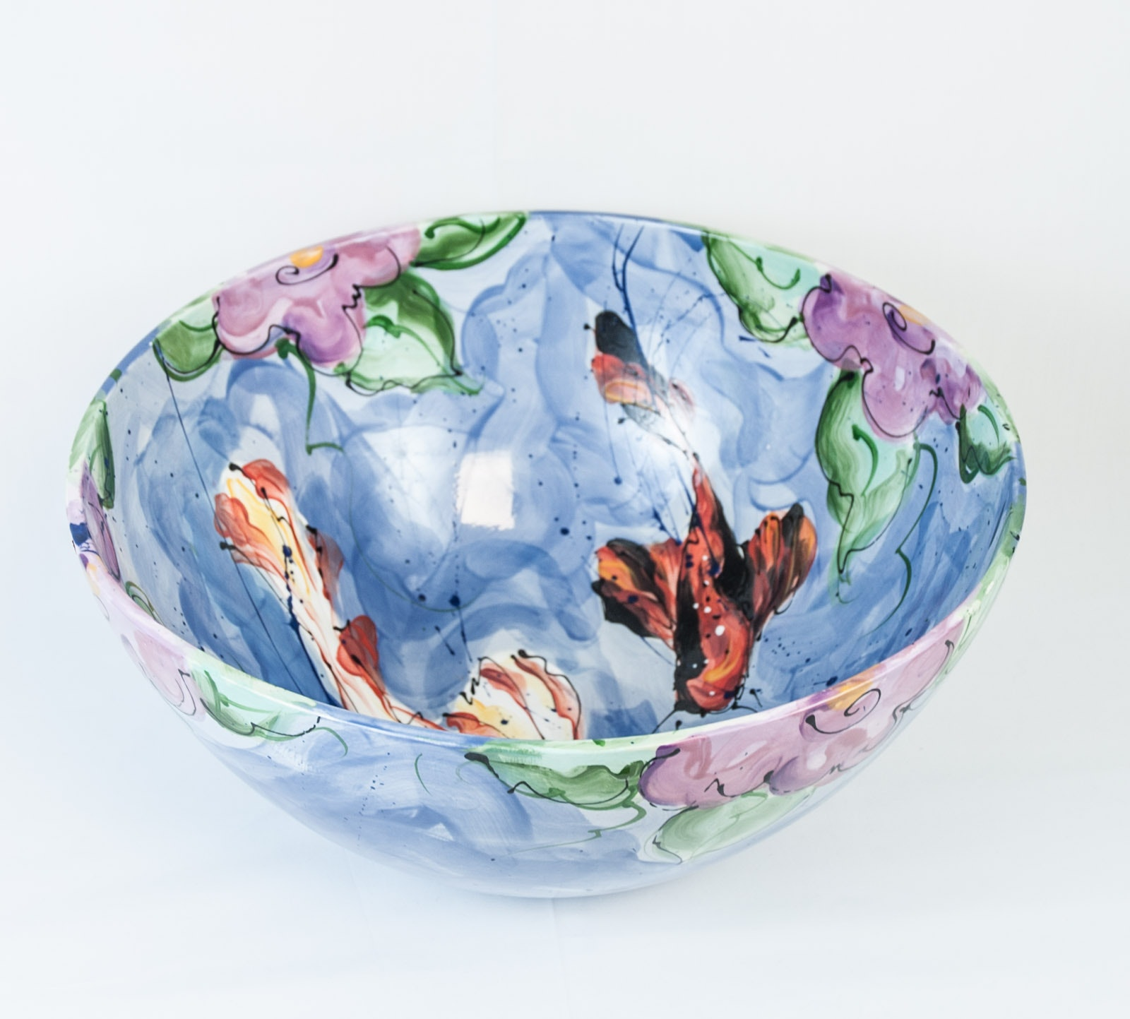 Large Hand Thrown Hand-Painted Porcelain Bowl