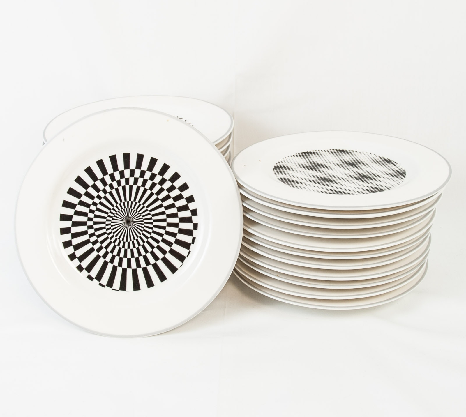 "Epoch ""Pop"" Black and White Salad Plates"