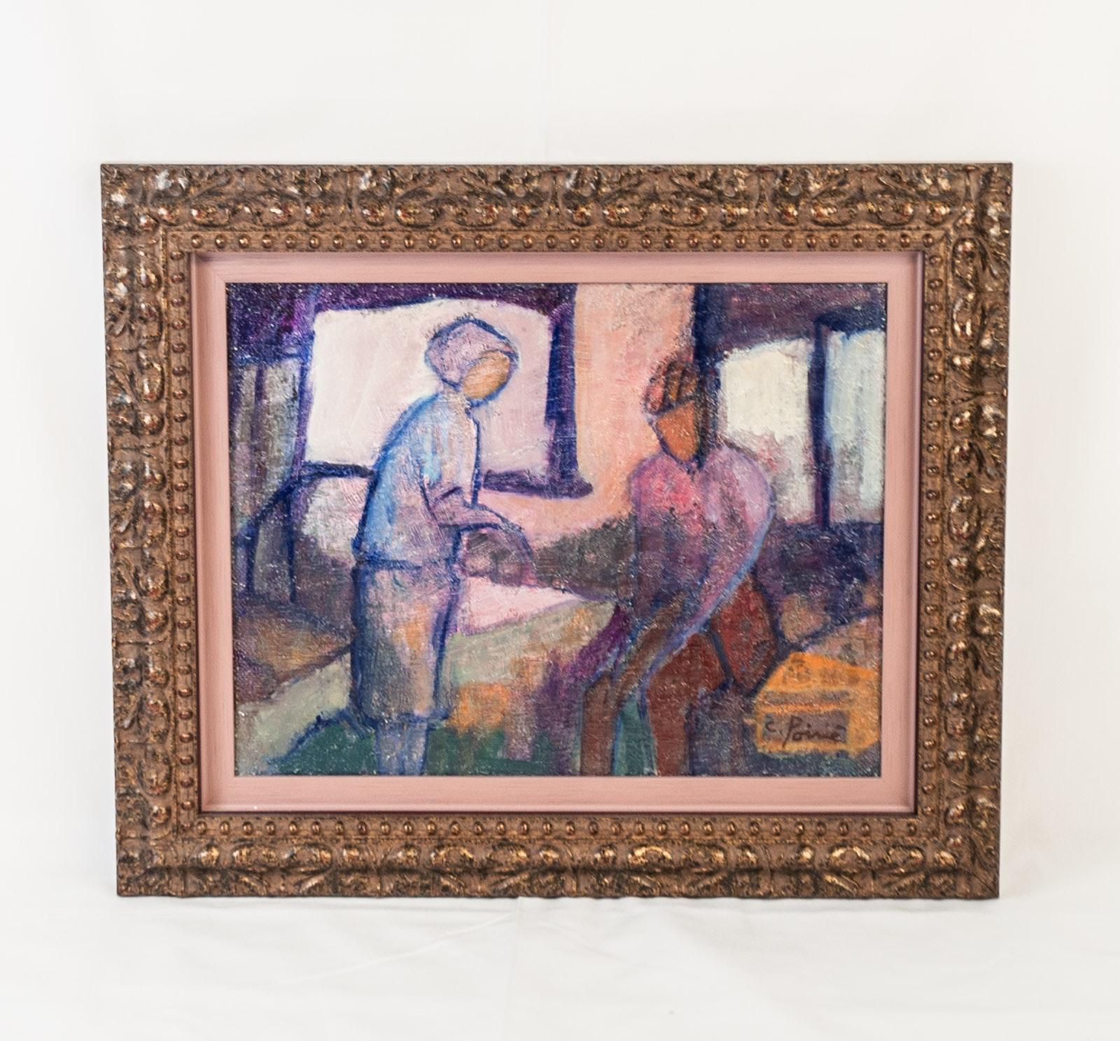 C. Poirié Modernist Oil Painting on Canvas Board