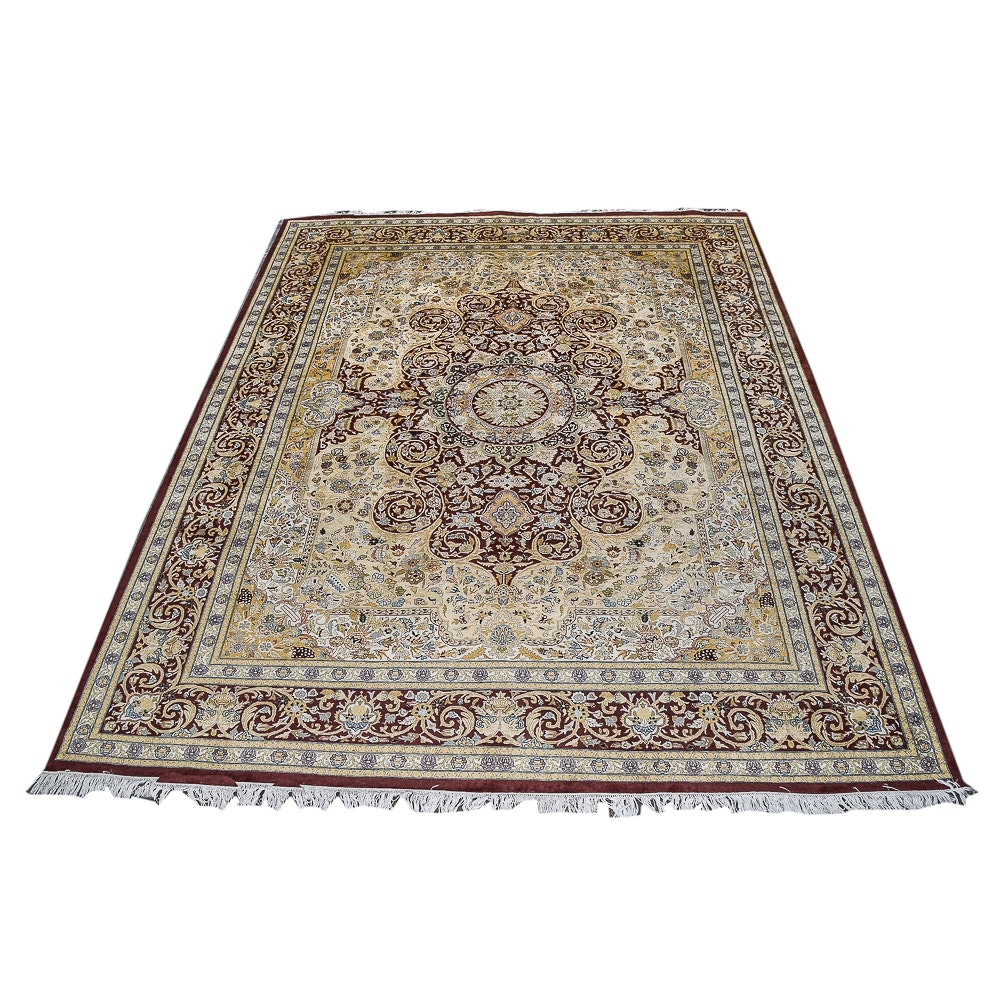Finely Hand-Knotted Indo-Persian Wool Area Rug