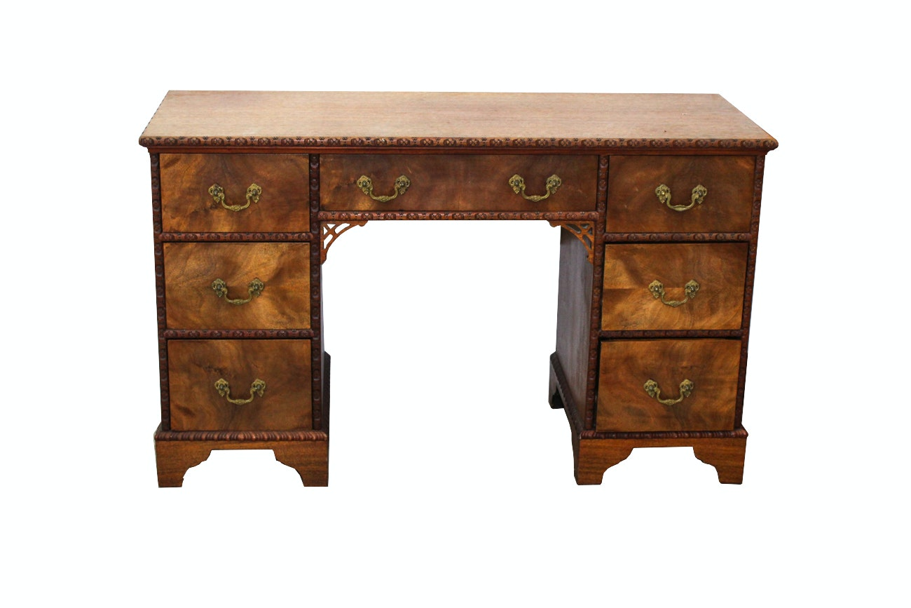Chippendale Style Mahogany Carved Floral Kneehole Desk
