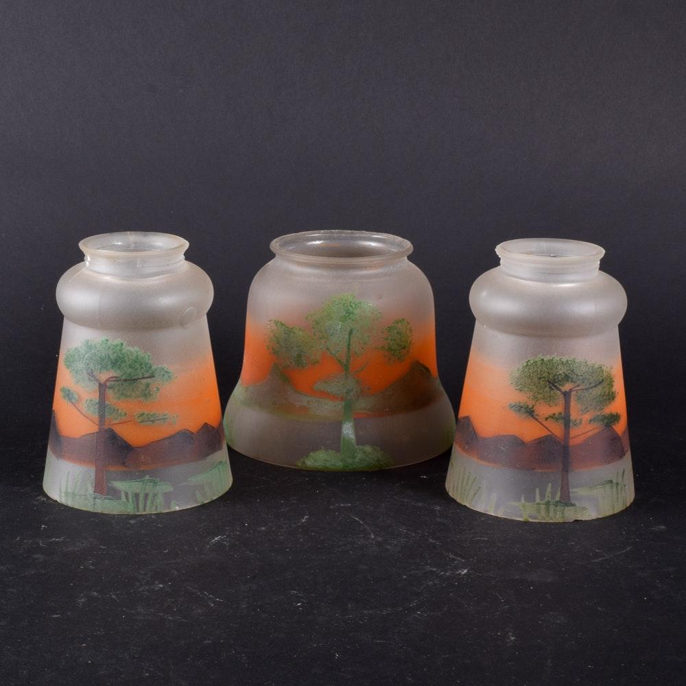 Vintage Hand-Painted Landscape Motif Glass Shades