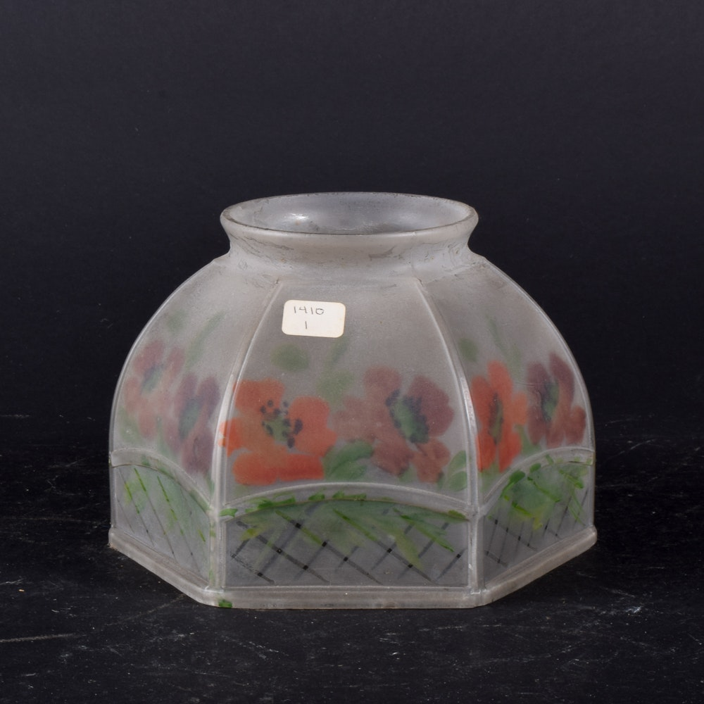 Vintage Hand-Painted Floral Hexagon Shade