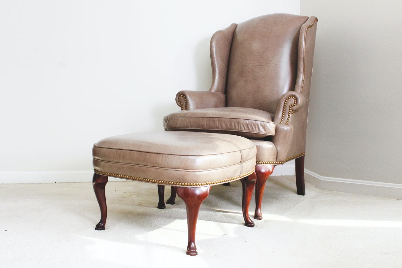 Genuine Leather Wing Back Chair With Ottoman By Thomasville ...