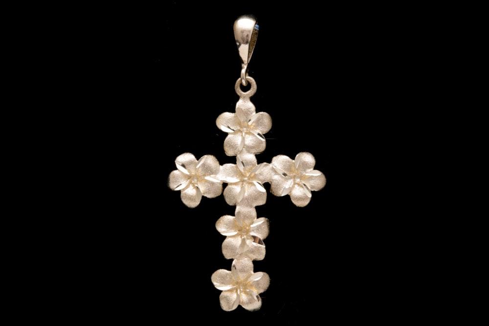 14K Yellow Gold Flower Cross Pendant