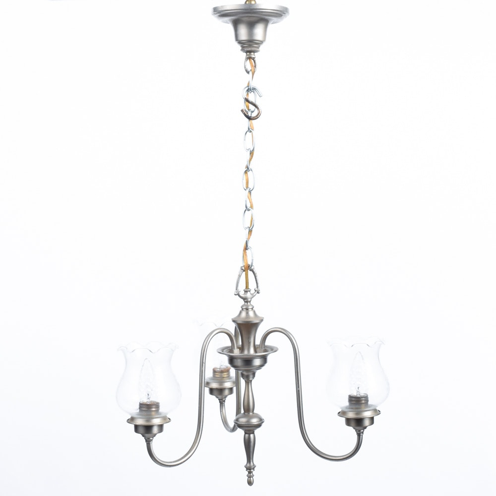 Pewter Tone Metal Chandelier