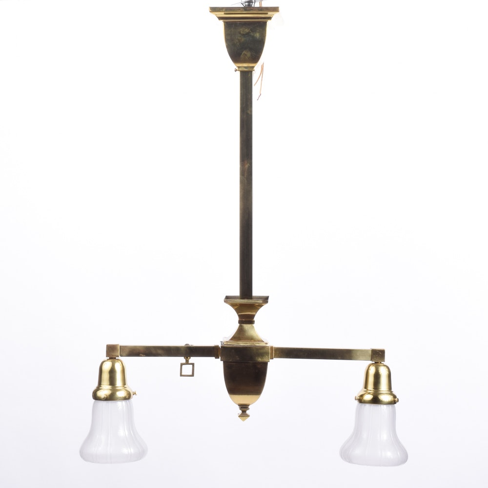 Converted Brass Ceiling Fixture