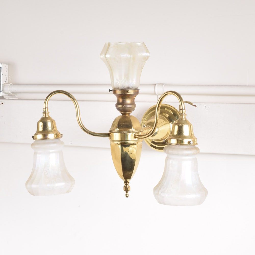 Brass Wall Sconce with Glass Shades
