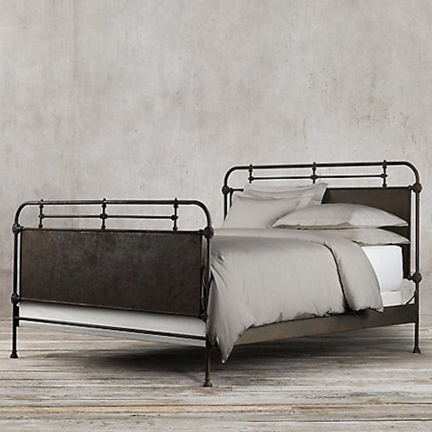 Restoration Hardware French Academie Panel Bed Queen Frame