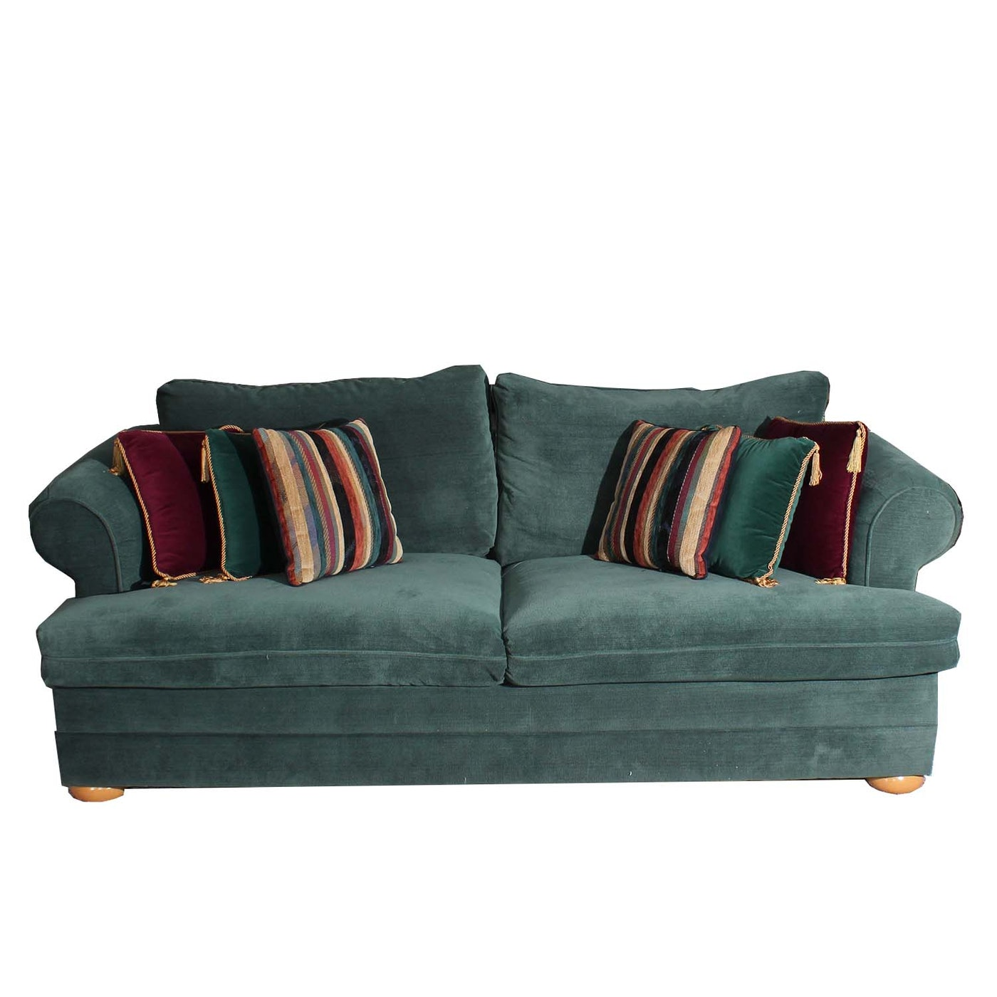 Green Couch With Throw Pillows : Green Upholstered Sleeper Sofa With Throw Pillows : EBTH