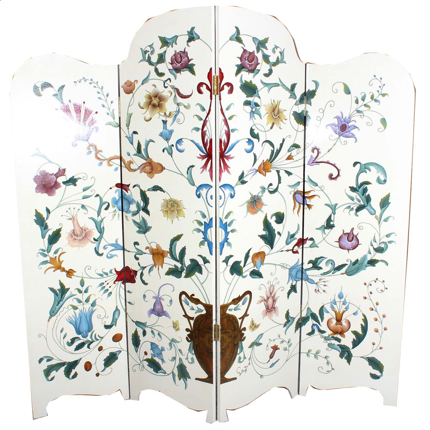 Vintage Wooden Hand Painted Room Divider