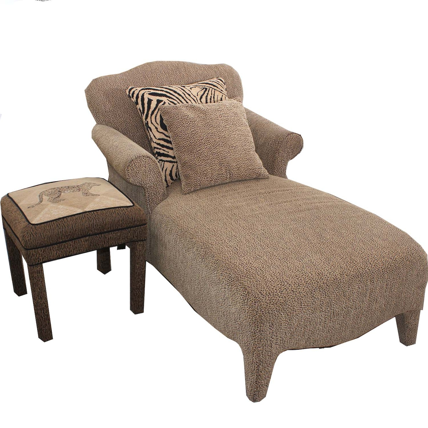 leopard print upholstered chaise and ottoman with accent pillows ebth. Black Bedroom Furniture Sets. Home Design Ideas