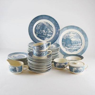 """Royal China """"Currier & Ives, Blue"""" Dinnerware"""