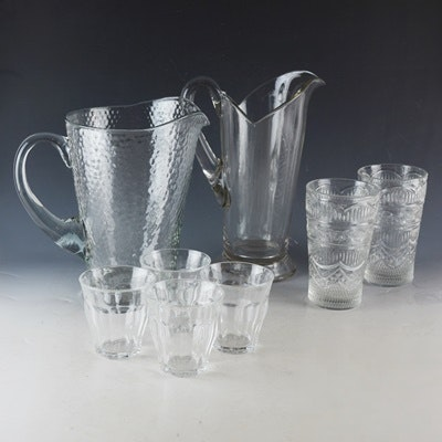 Glass Pitchers and Drinking Glass Assortment