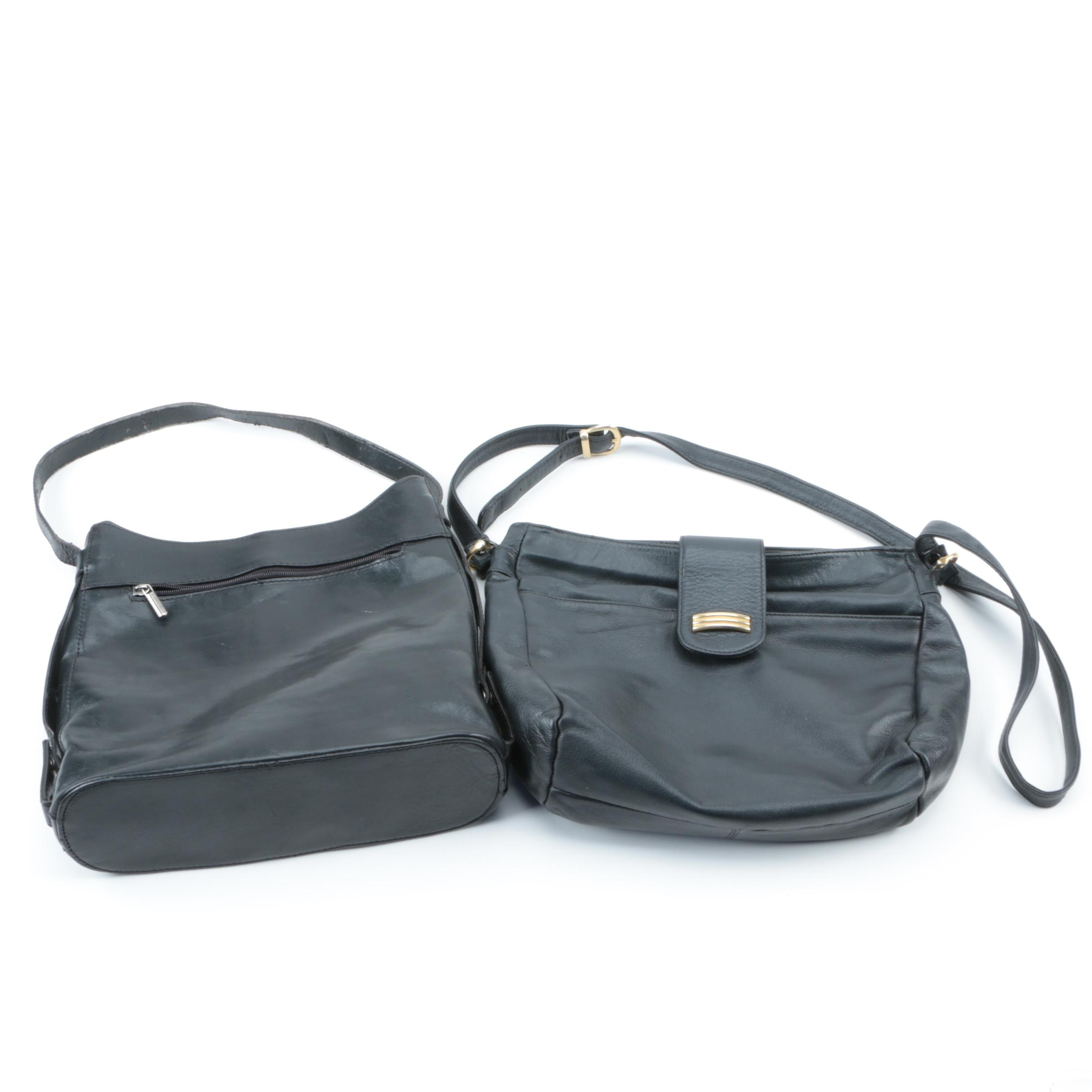 Vintage Black Leather Shoulder Bags With Lord & Taylor