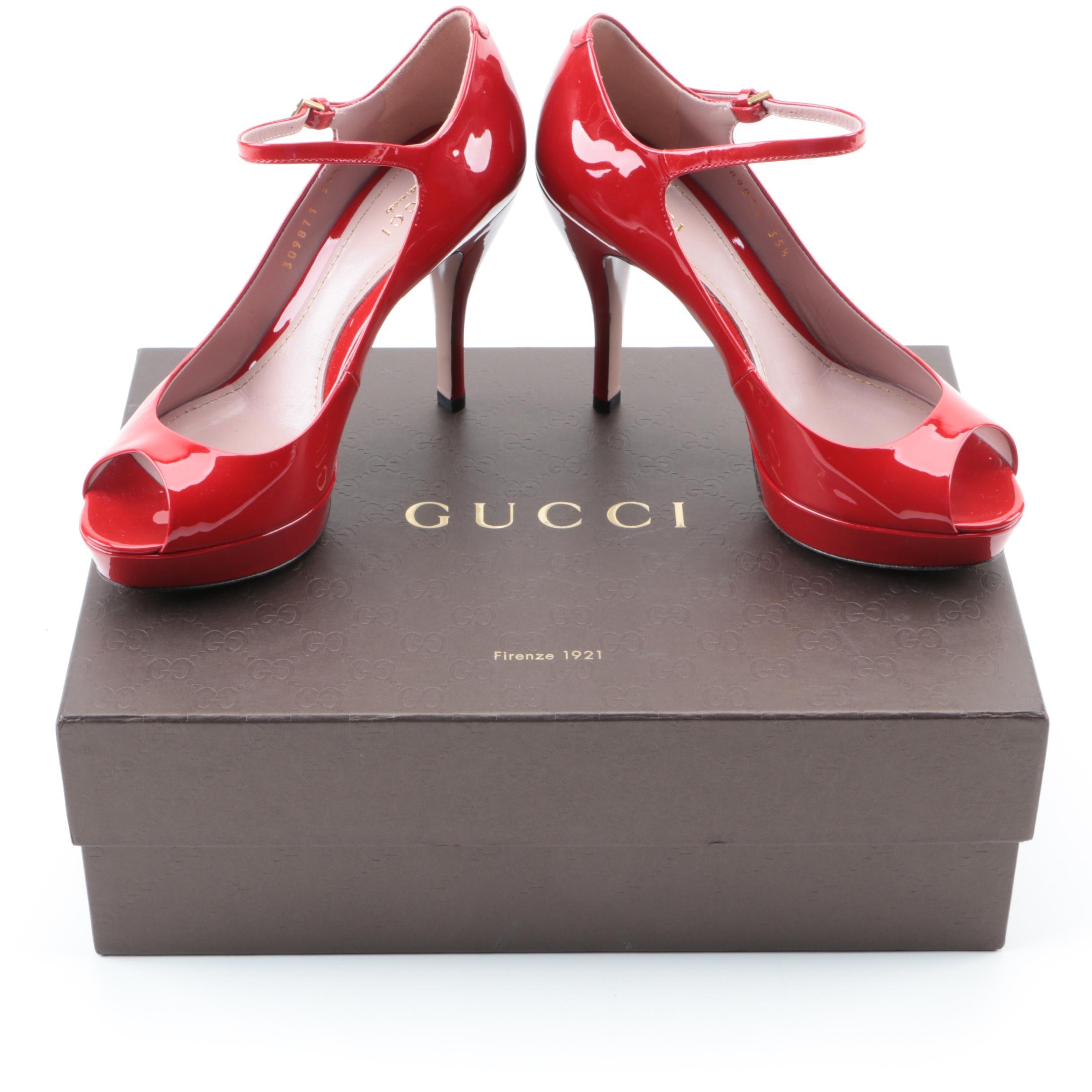 Gucci Patent Leather Peep Toe Heels