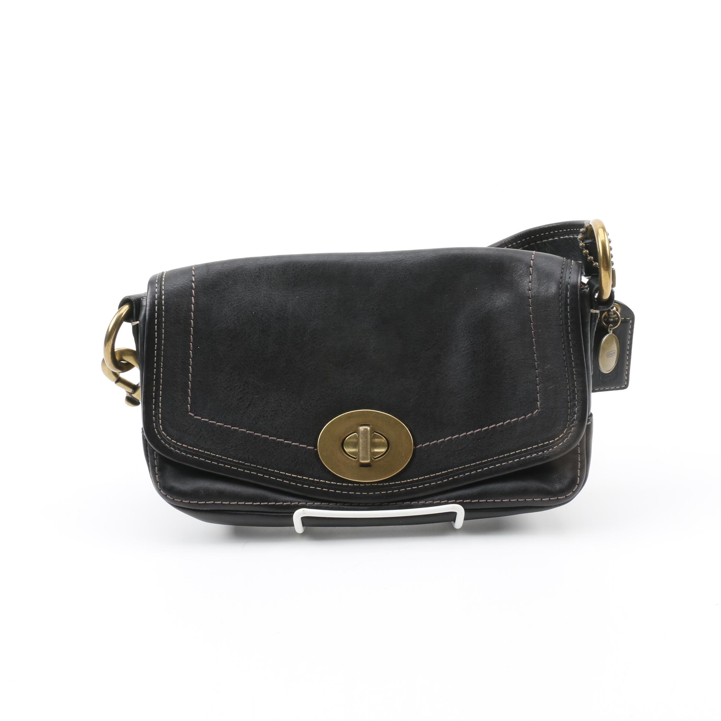 Coach Black Leather Legacy Baguette Handbag