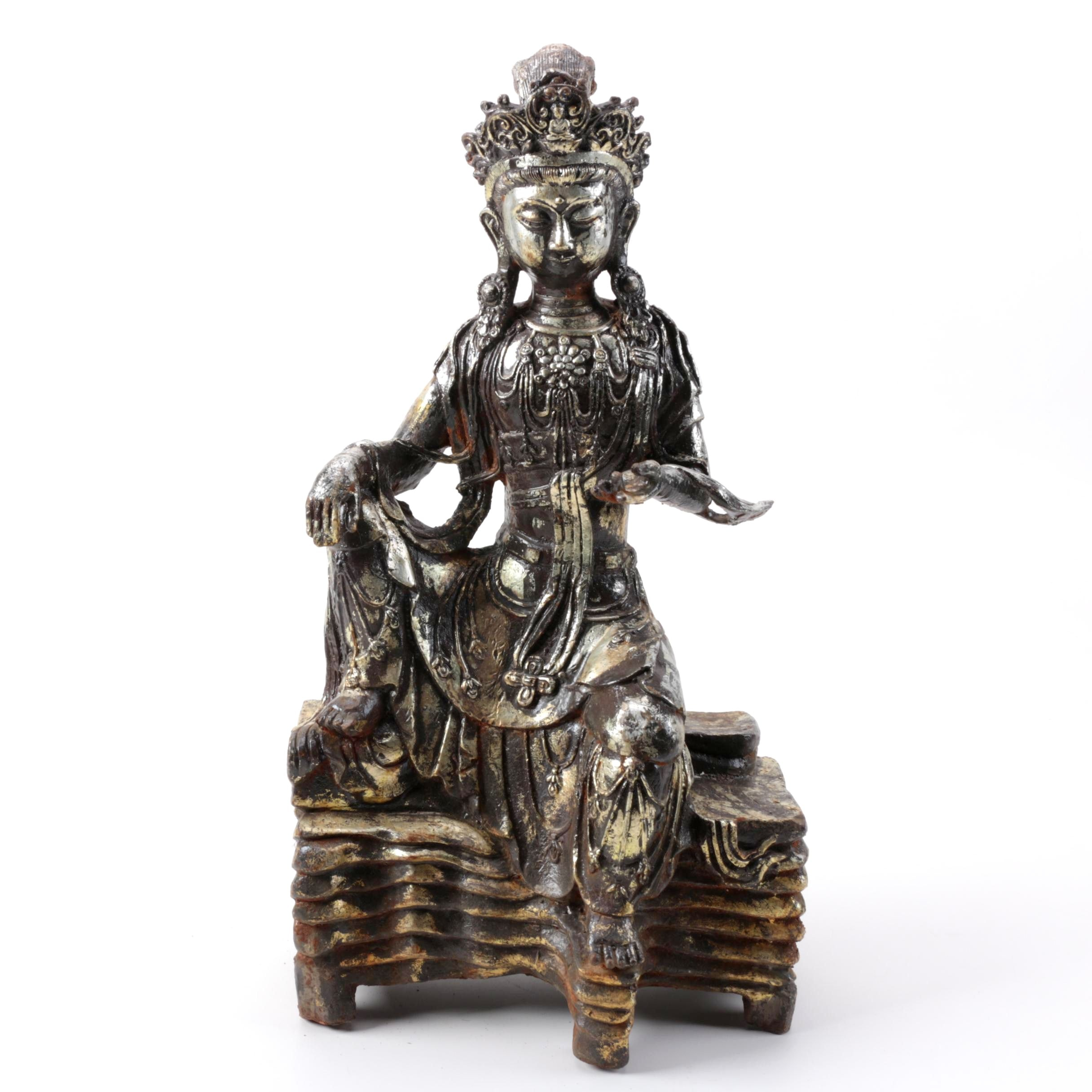 Cast Metal Guanyin Figure