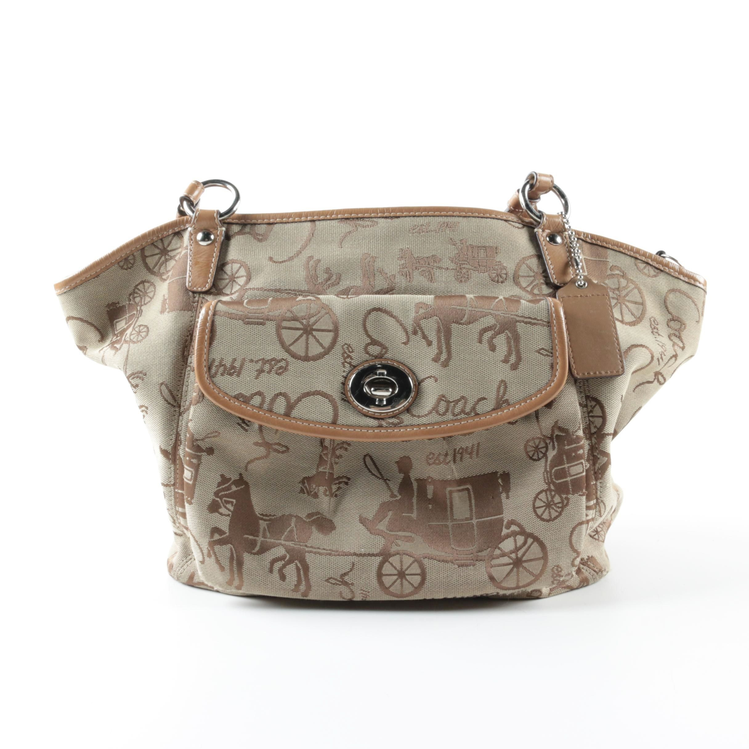 Coach Leah Horse and Carriage Canvas Tote