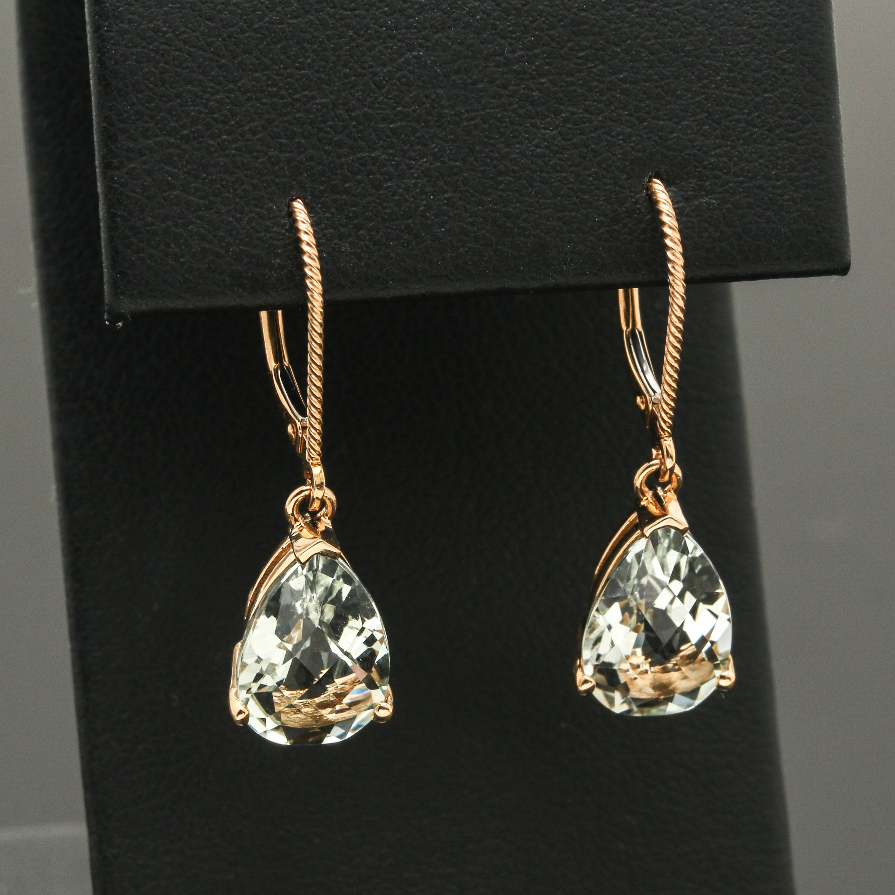 14K Yellow Gold Praseolite Earrings