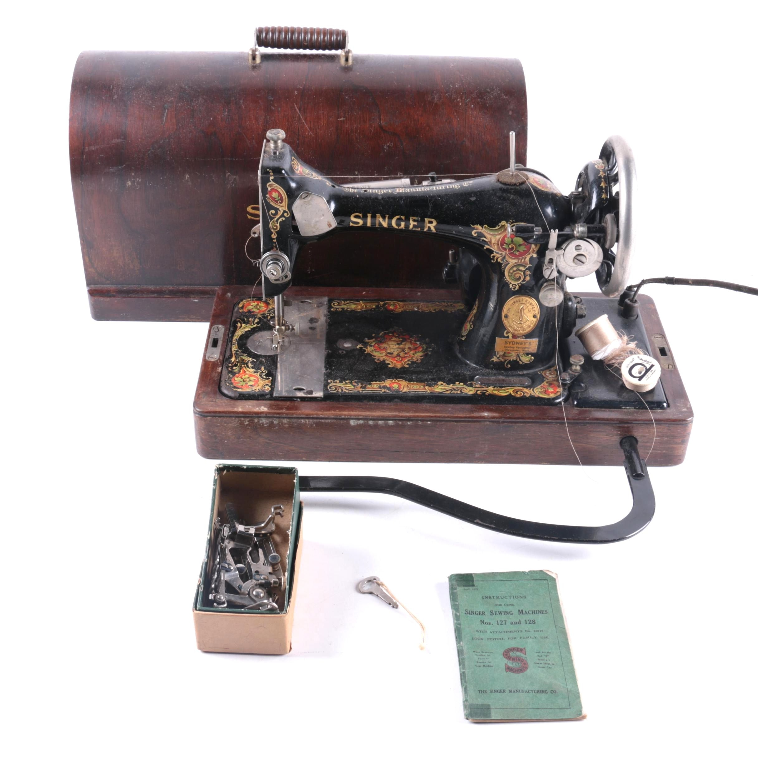 1925 Singer Sewing Machine, Manual And Accessories