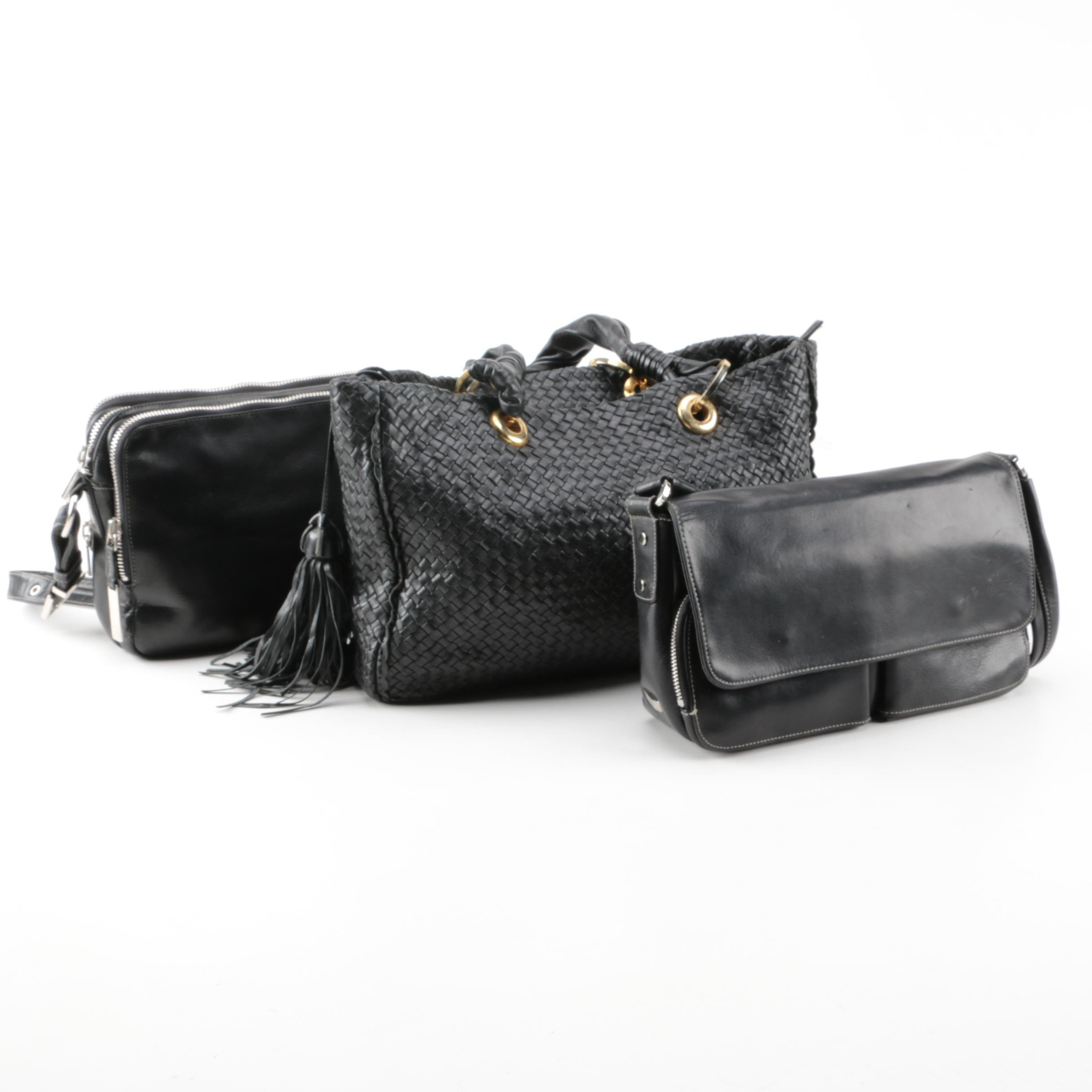 Black Leather Handbags with Perlina