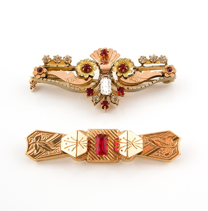 Victorian Style Brooches, Including Brooch with 14K Gold Chain