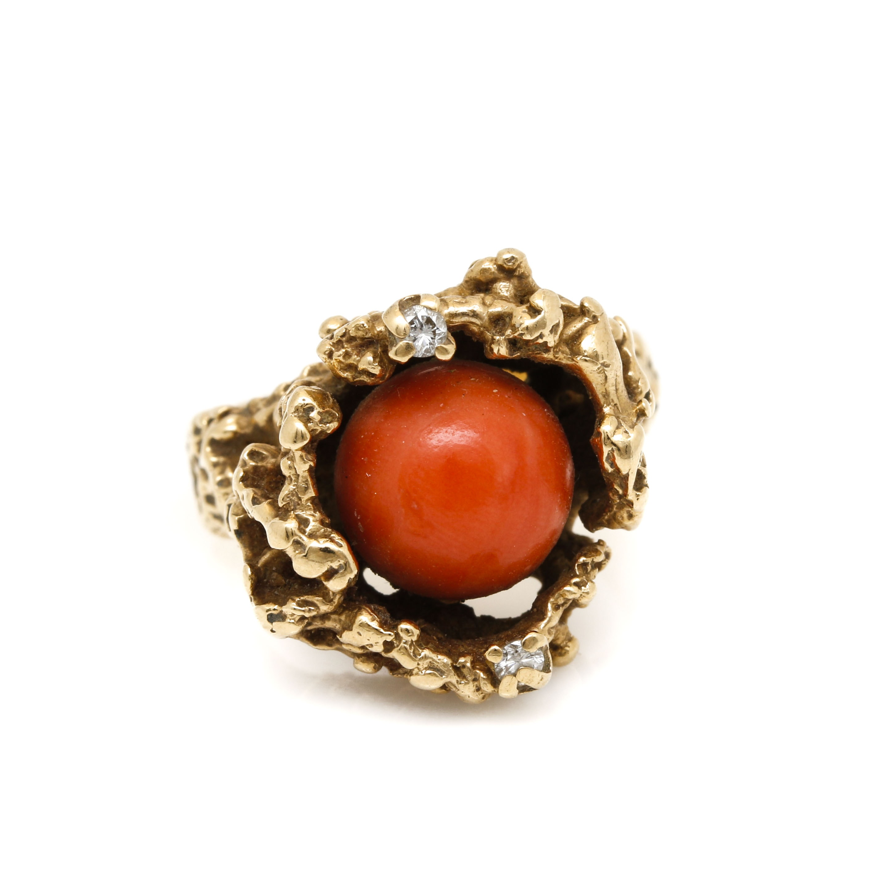 James Avery 14K Yellow Gold Coral and Diamond Ring