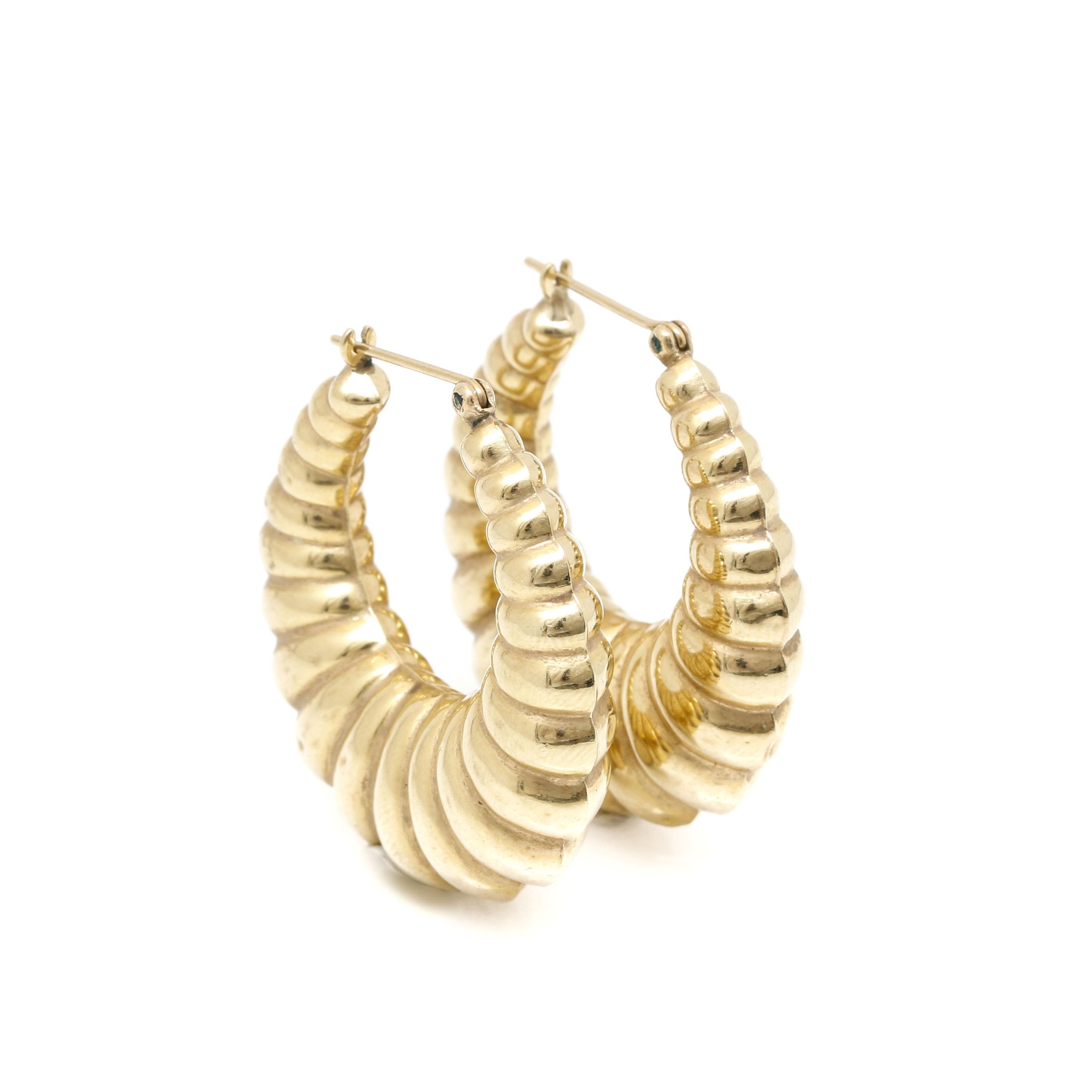 14K Yellow Gold Scalloped Hoop Style Earrings