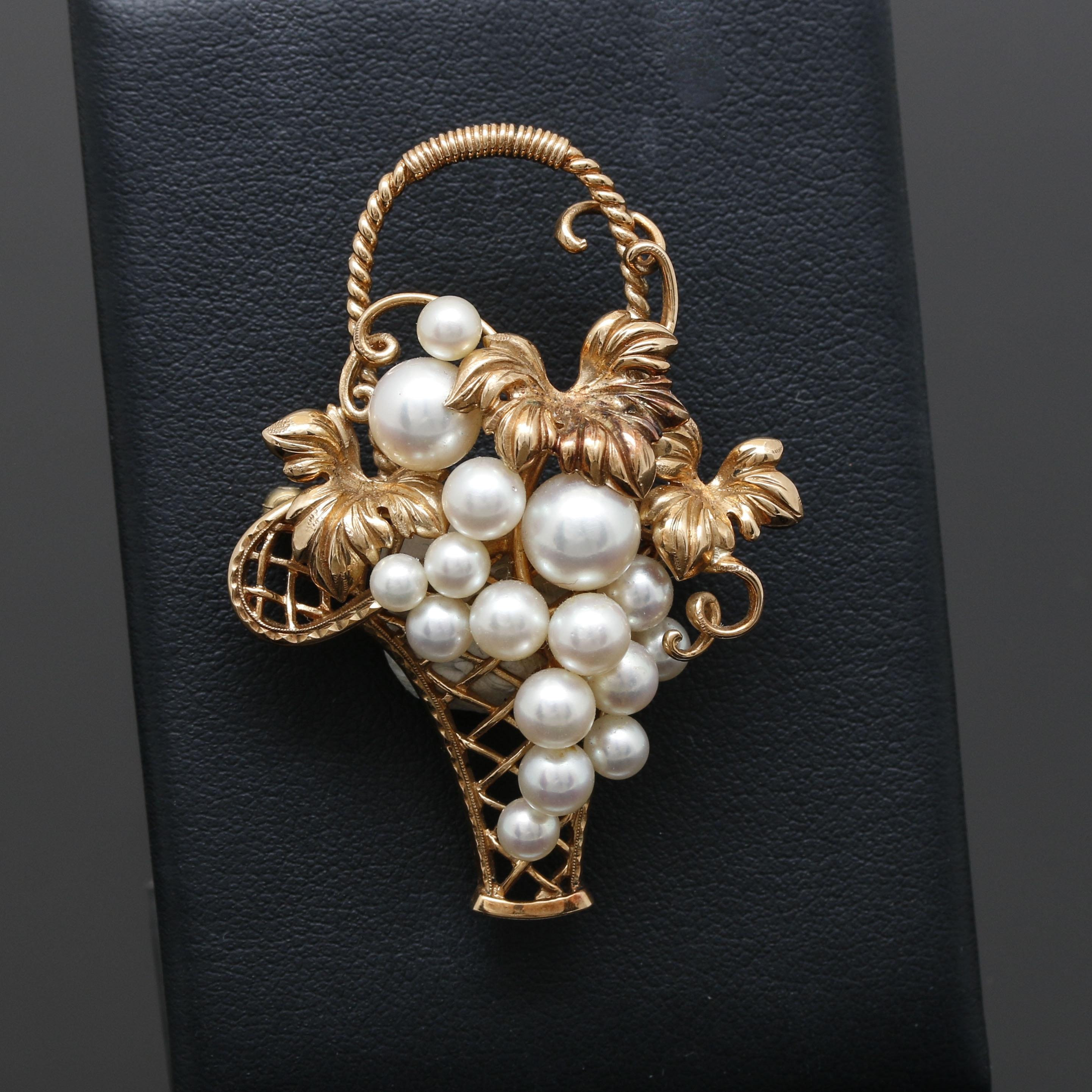 Mikimoto 14K Yellow Gold Cultured Pearl Foliate Basket Brooch