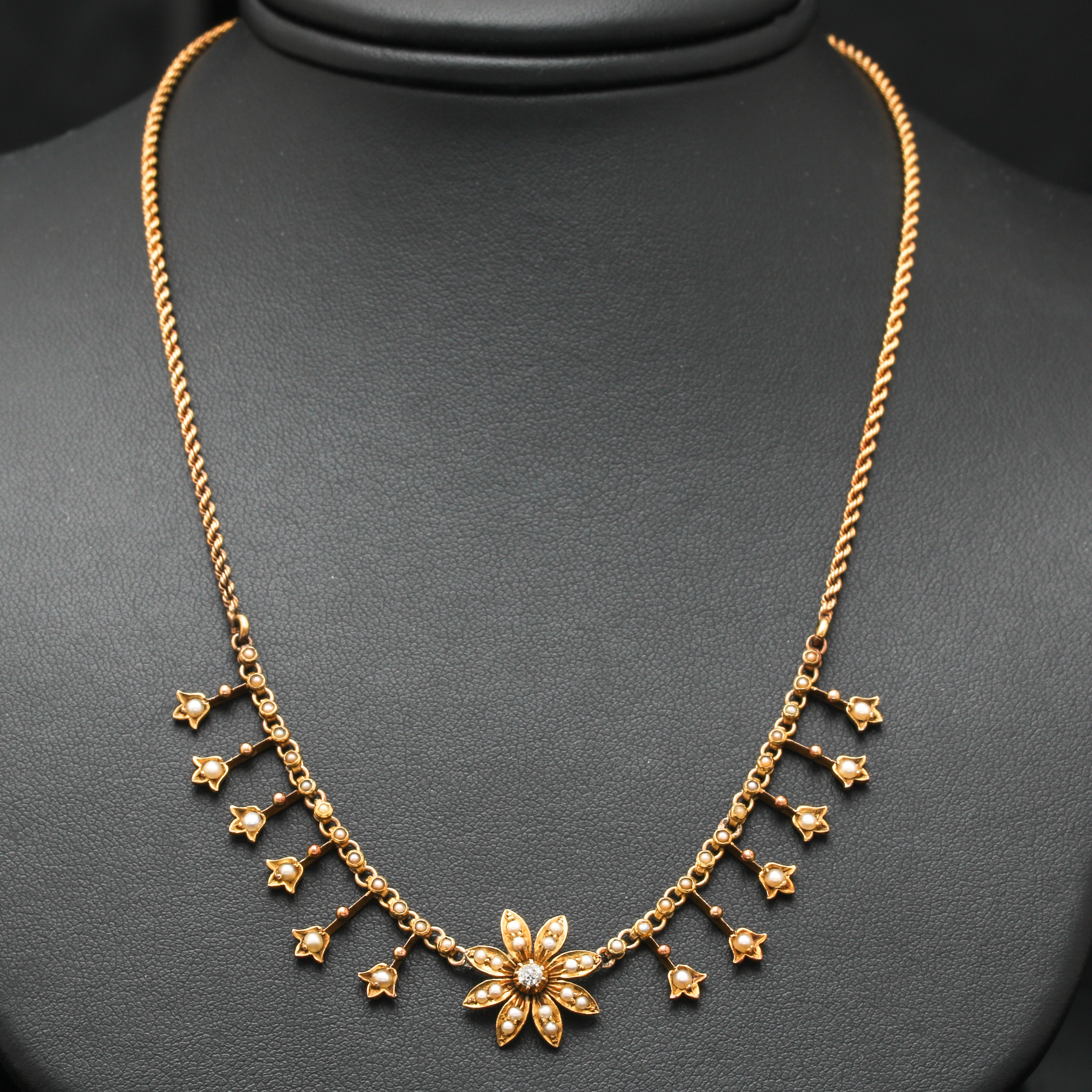 Victorian 14K and 18K Yellow Gold Diamond and Seed Pearl Necklace