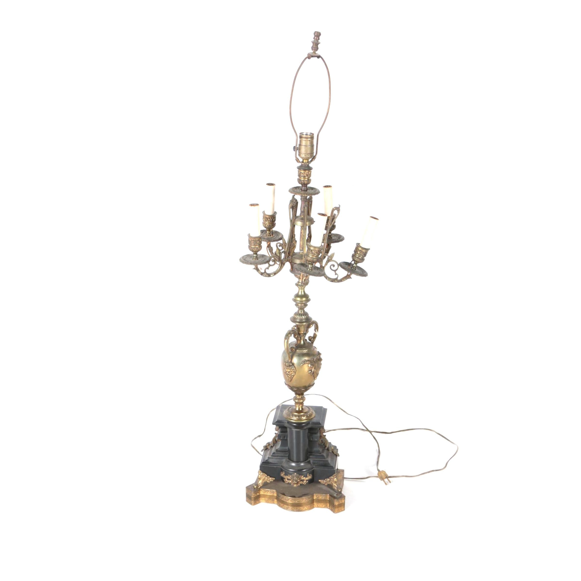 Ornate Neoclassical Style Candelabra Table Lamp