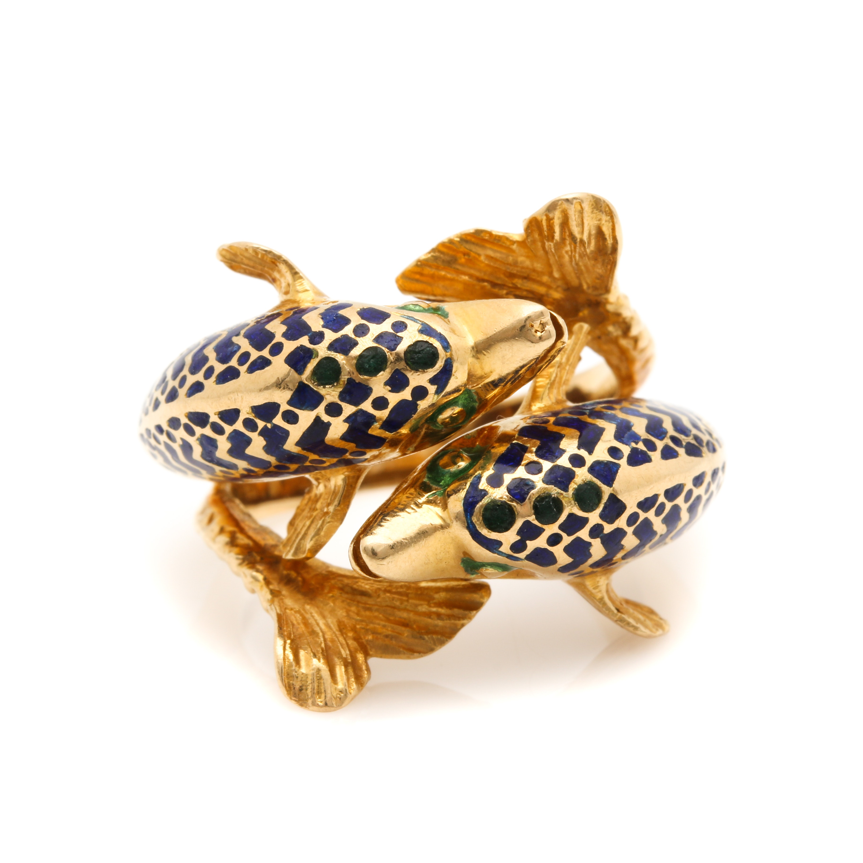 18K Yellow Gold Enamel Dolphin Bypass Ring