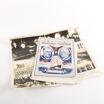 Franklin D. Roosevelt 1933 Inaugural Program with 1937 Inauguration Photos