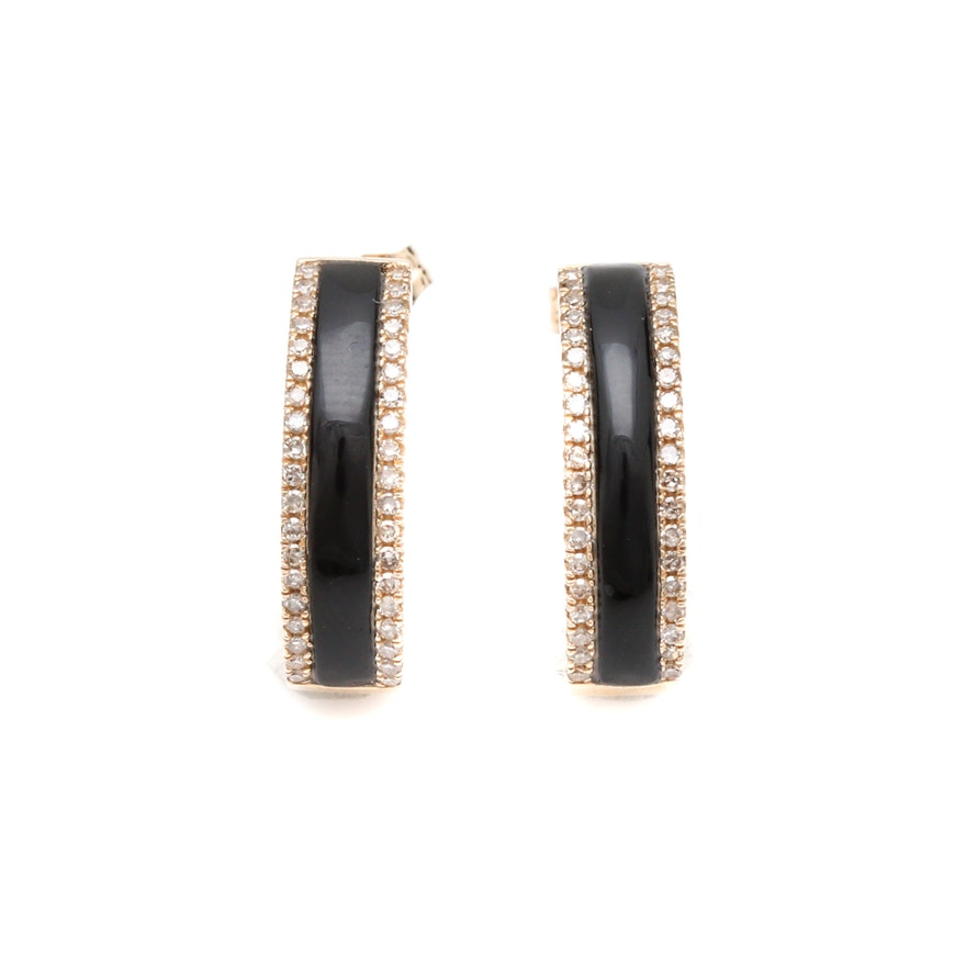 14k Yellow Gold Black Onyx And Diamond Half Hoop Earrings