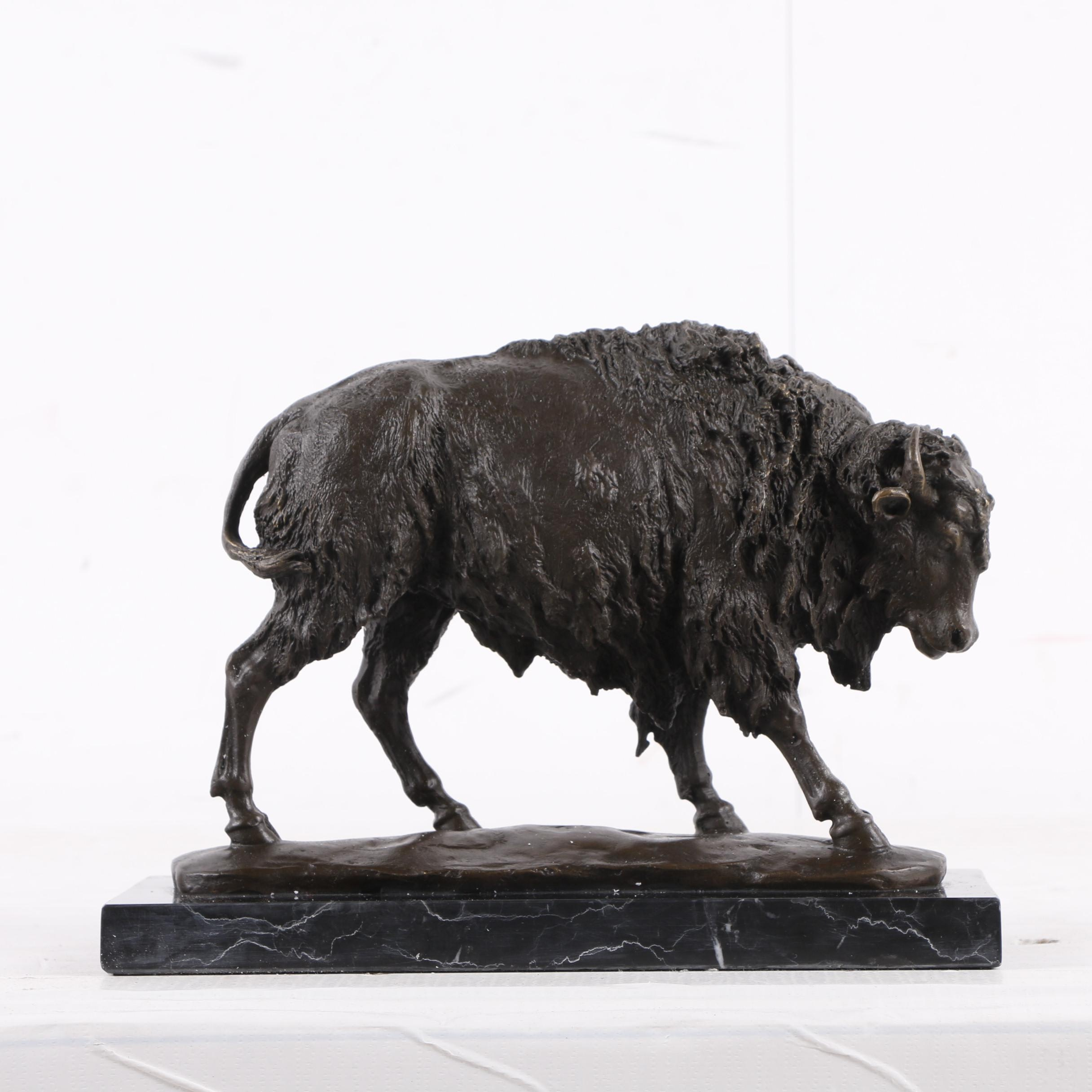 Brass Sculpture of Bison After Milo