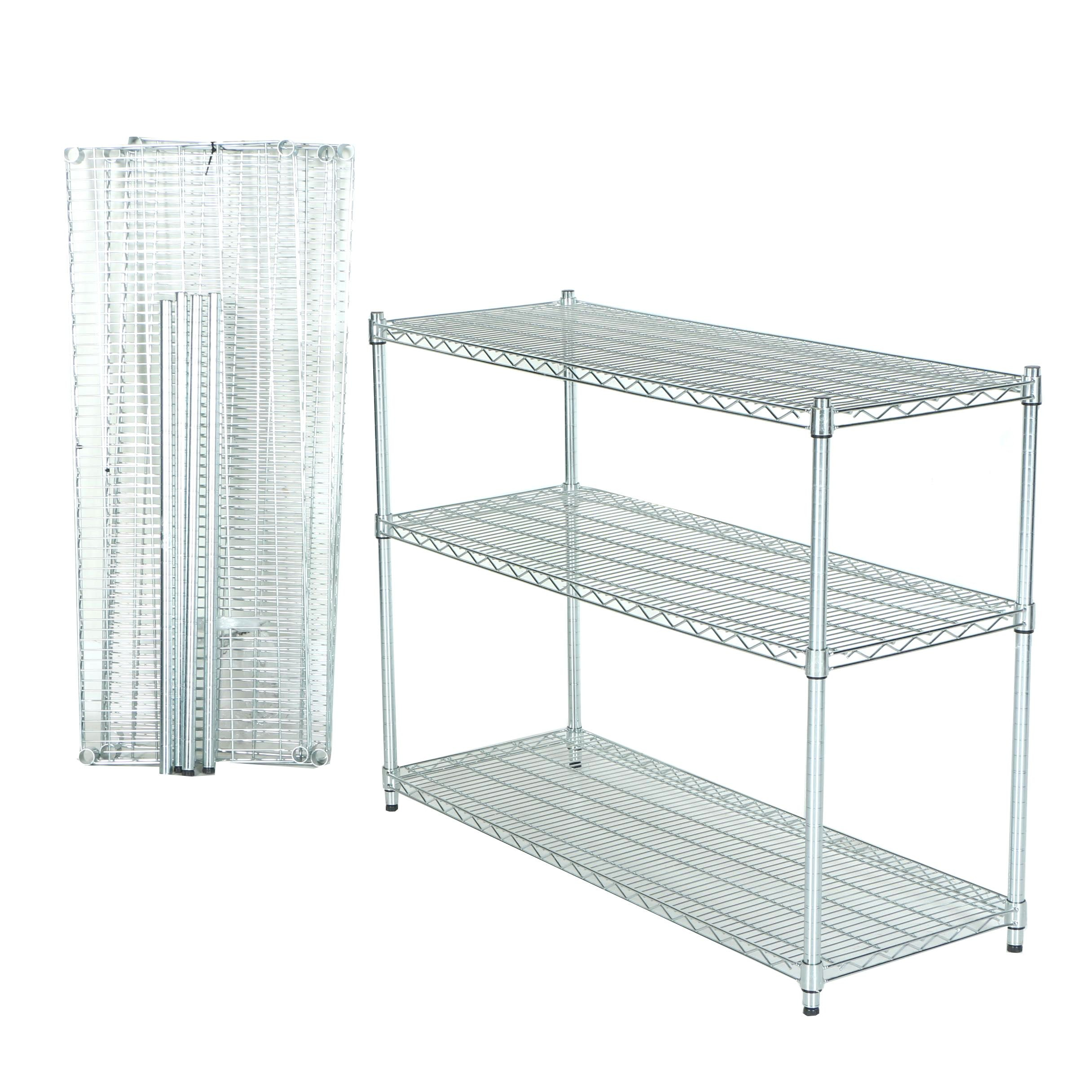 "Two 37"" Tall Metal Wire Shelving Units by Trinity"