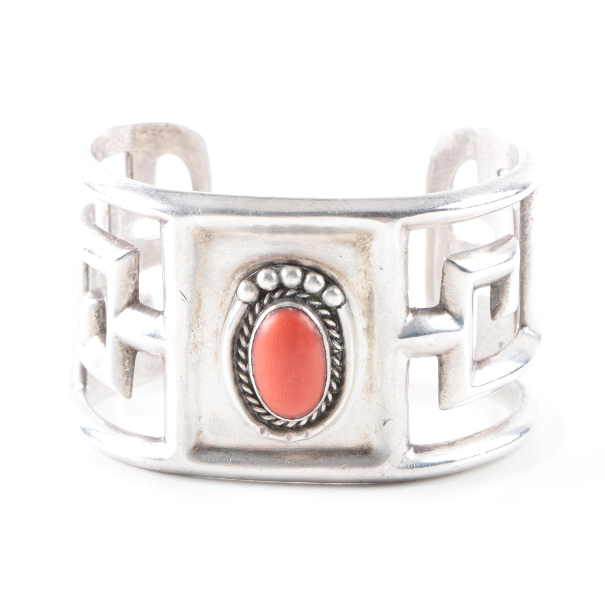 Geometric Southwest Stylized Sterling Silver Cuff Bracelet with Coral