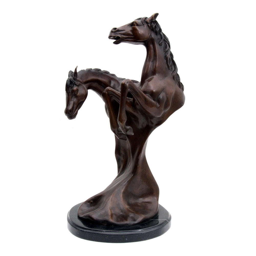 Contemporary Bronze Sculpture of Two Horses