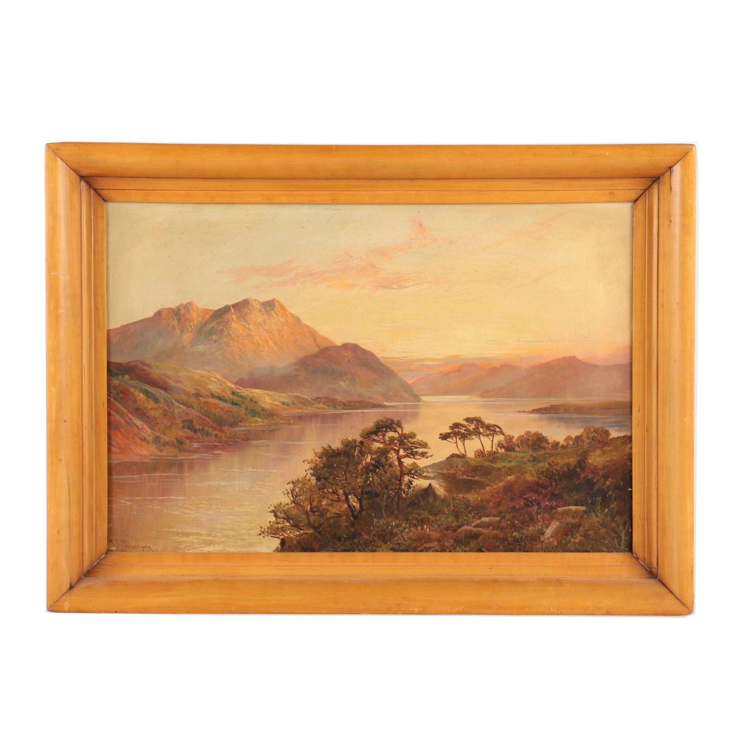 "Francis E. Jamieson Oil Landscape on Canvas ""Near Arrochar Loch Lomand"""