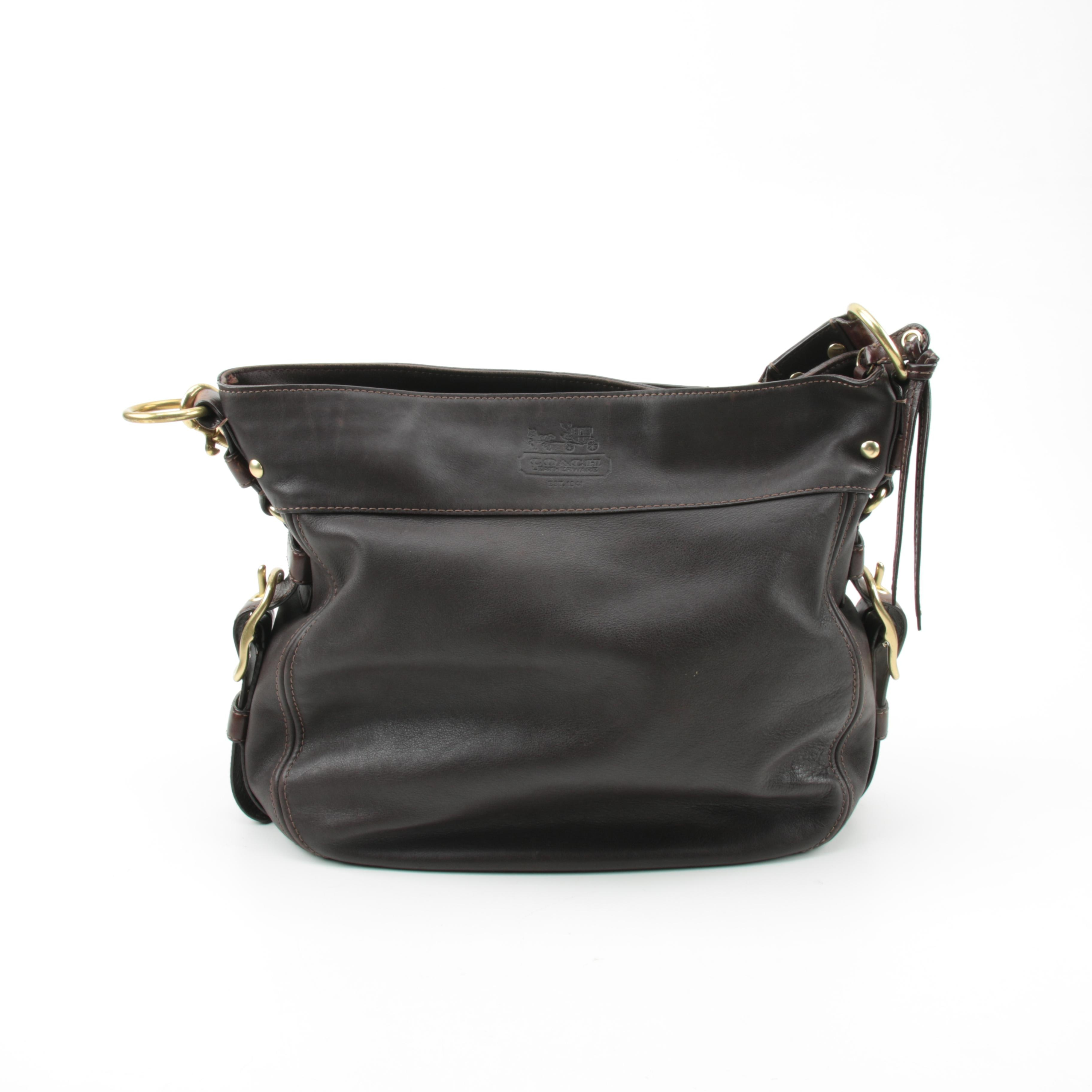 Coach Zoe Brown Leather Hobo Bag