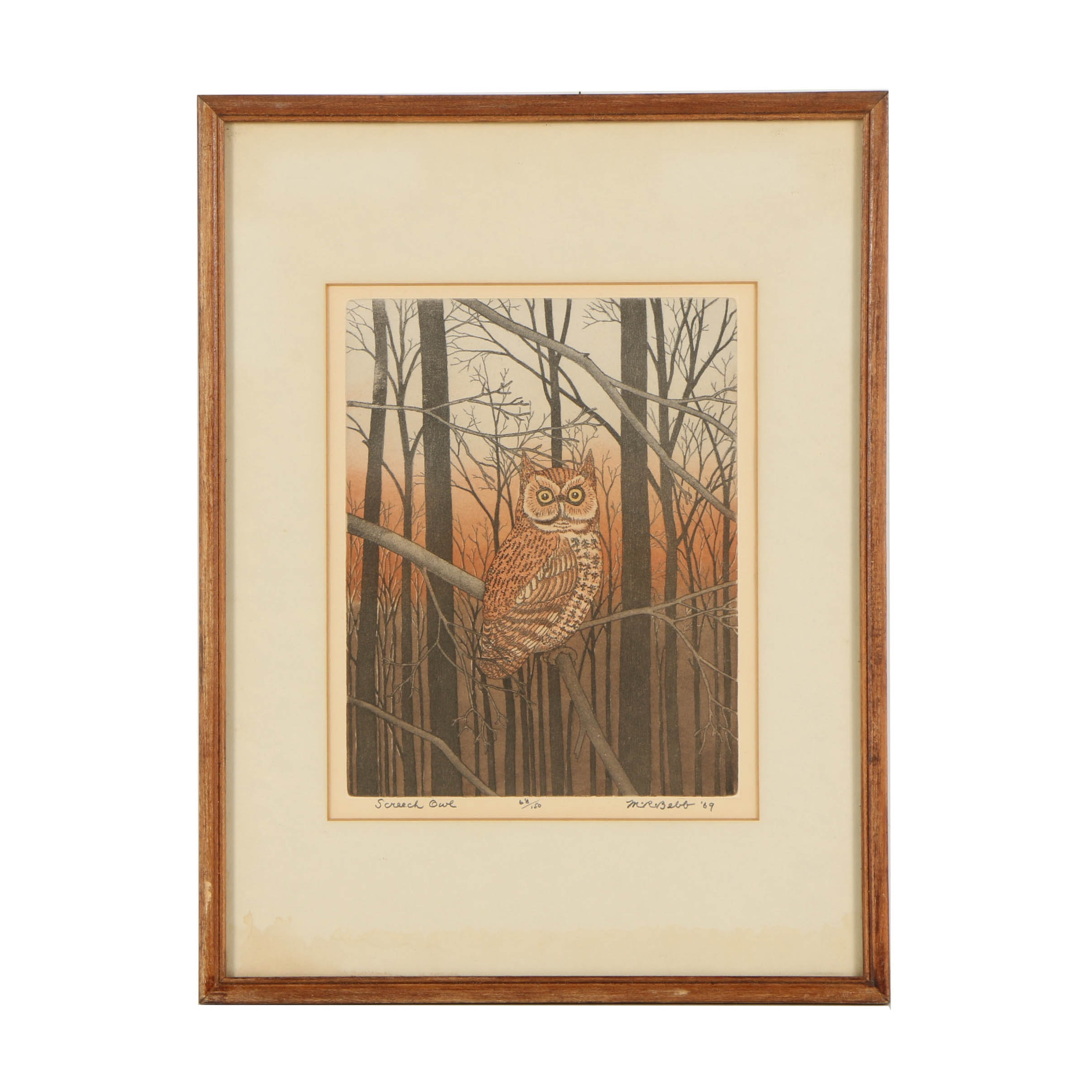 "Maurice R. Bebb Limited Edition Lithograph on Paper ""Screech Owl"""