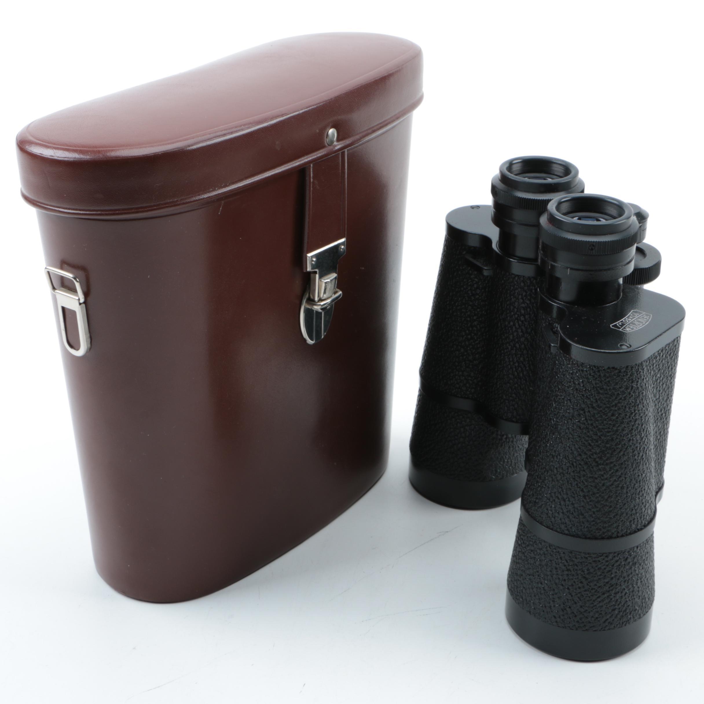 Vintage Carl Zeiss Jena 10x50W Jenoptem Binoculars with Case